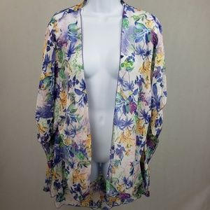 Emory Park Womens Thin Floral Cardigan Size Small